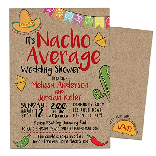 Amazoncom Nacho Average Bridal Shower Invitations Kraft Fiesta