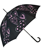 Blooming Brollies Hearts Stick Umbrella - Pink