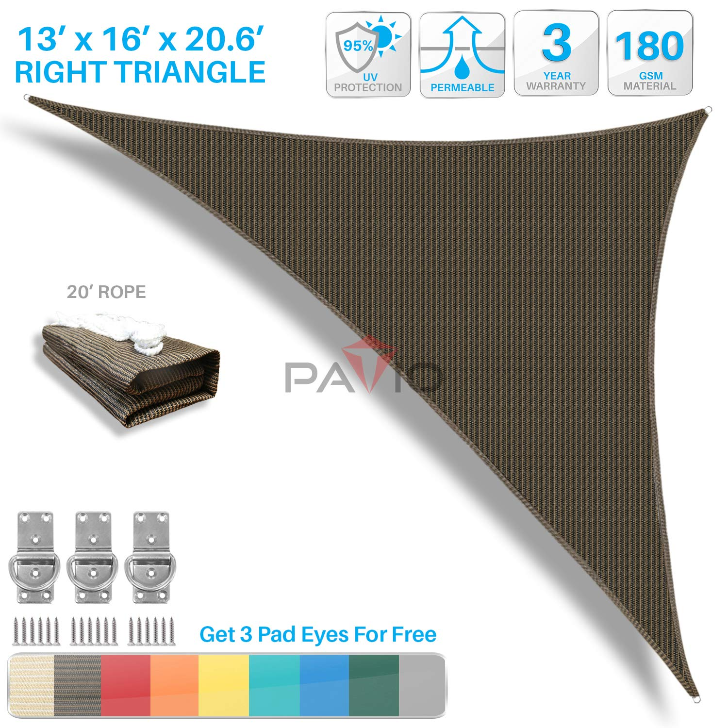 Patio Paradise 13' x 16' x 20.6' Brown Sun Shade Sail Right Triangle Canopy - Permeable UV Block Fabric Durable Outdoor - Customized Available