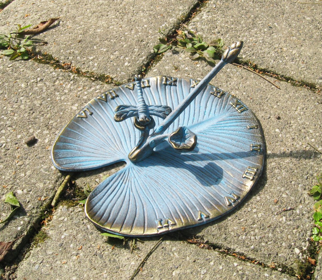 Brass Sundial - Lily Pad with a Dragonfly