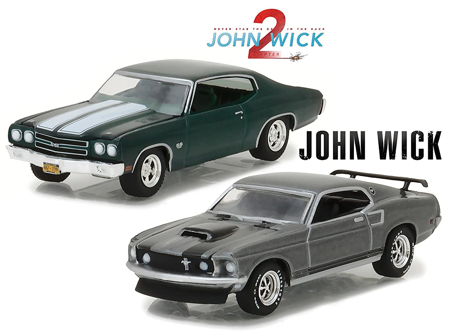 Greenlight 1969 Ford Mustang Boss 429 With 1970 Chevy Police Car Chevelle Ss 396 John Wick 1 2 64 Scale Diecast Bundle Toys Games