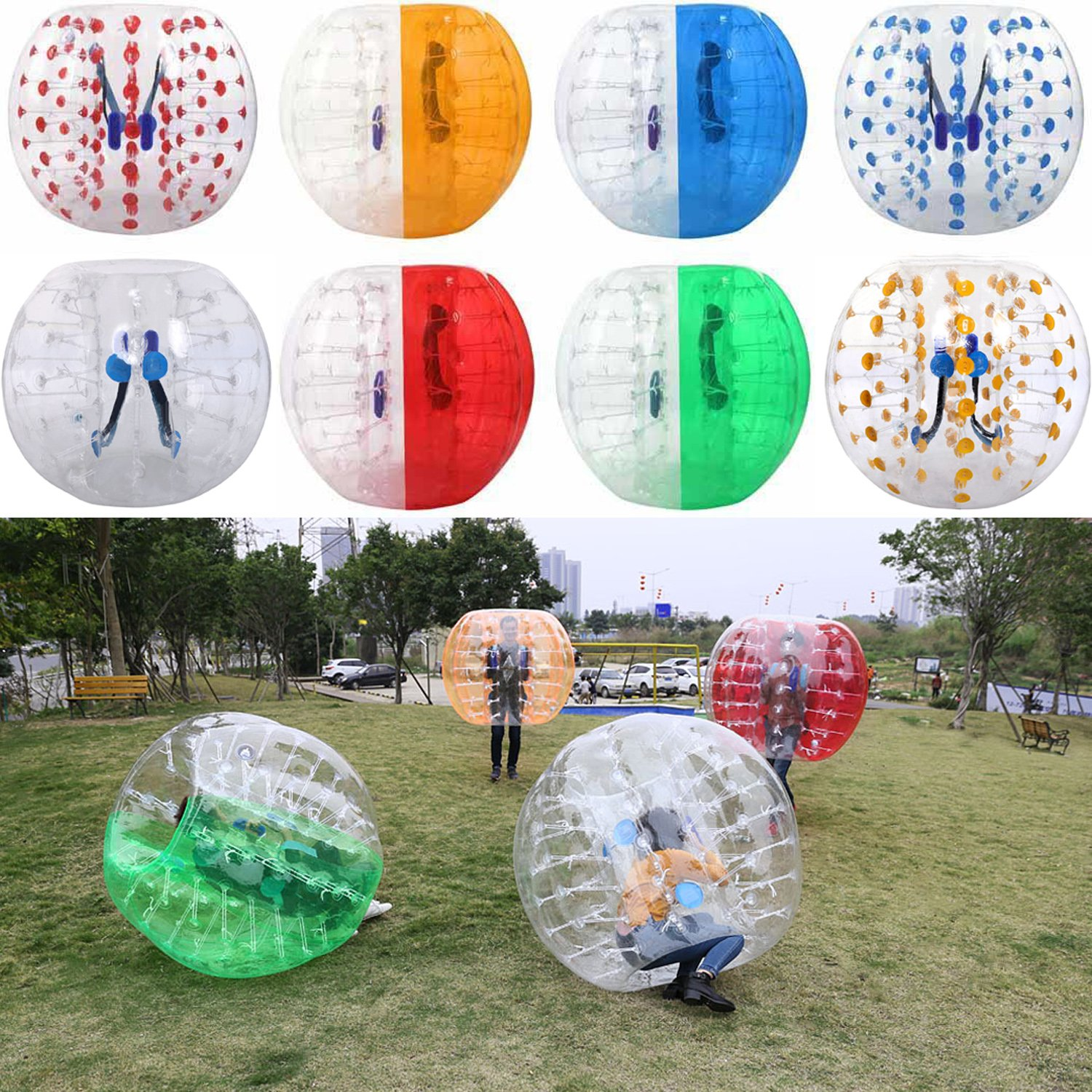 Tomasar Inflatable Bubble Soccer Ball Suit Human Bumper Football Zorb Knocker Balls for Adults and Kids Dia 5ft/4ft (1.5m/1.2m) (Green White, 5FT)