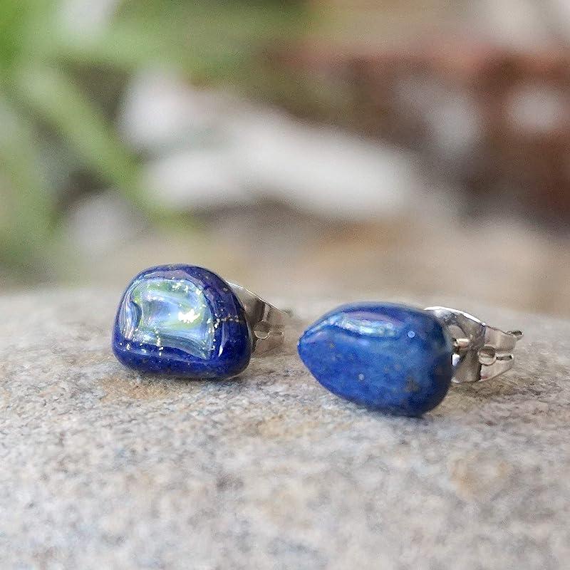 6mm Navy Blue Lapis Lazuli Unisex Hypoallergenic Stud Earrings Little Gems Jewels