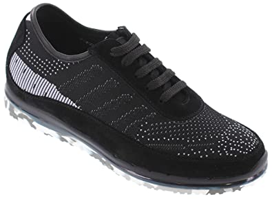0e014d4c Toto Men's Invisible Height Increasing Elevator Trainer Shoes - Black  Suede/Mesh Lace-up
