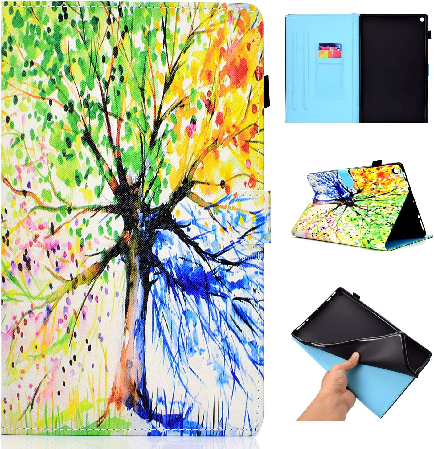 MoreChioce Cover for  Fire HD 10 2015//2017 3D Fashion Watercolor Owl Pattern Soft PU Leather Stand Magnetic Flip Case Folio Closure Foldable Case for  Kindle Fire HD 10 2015//2017