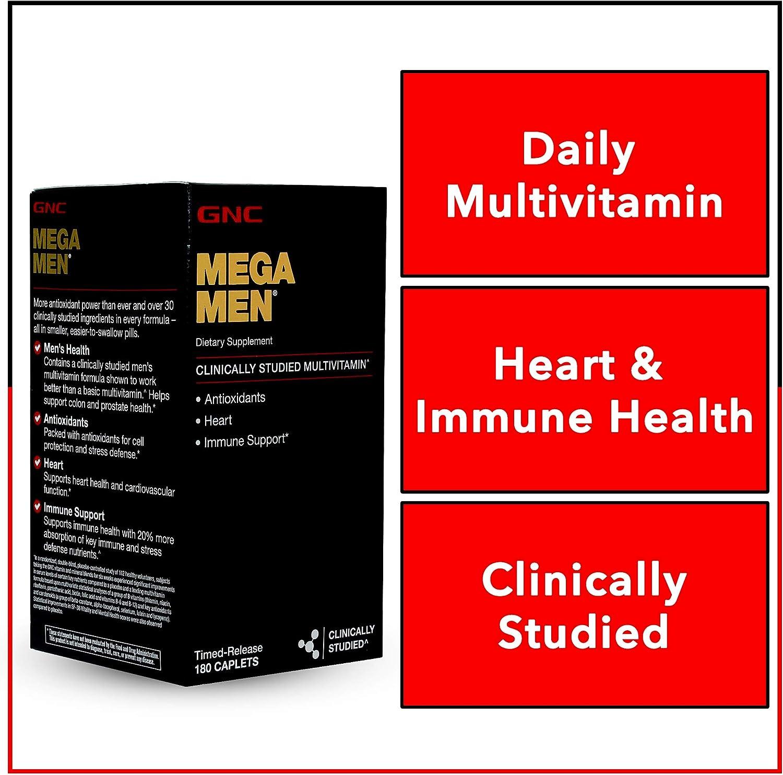 GNC Mega Men Multivitamin for Men, 180 Count, Antioxidants, Heart Health, and Immune Support: Health & Personal Care