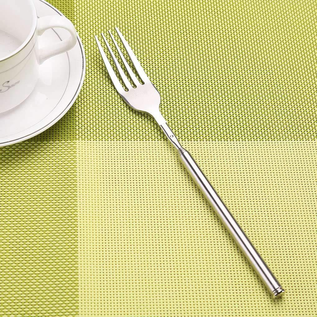 en Acier Inoxydable Fruit Dessert Longue Fourchette Couverts Lorsoul Bricolage Extendable D/îner t/élescopique Fourchette Accessoires pour Barbecue Cuisine