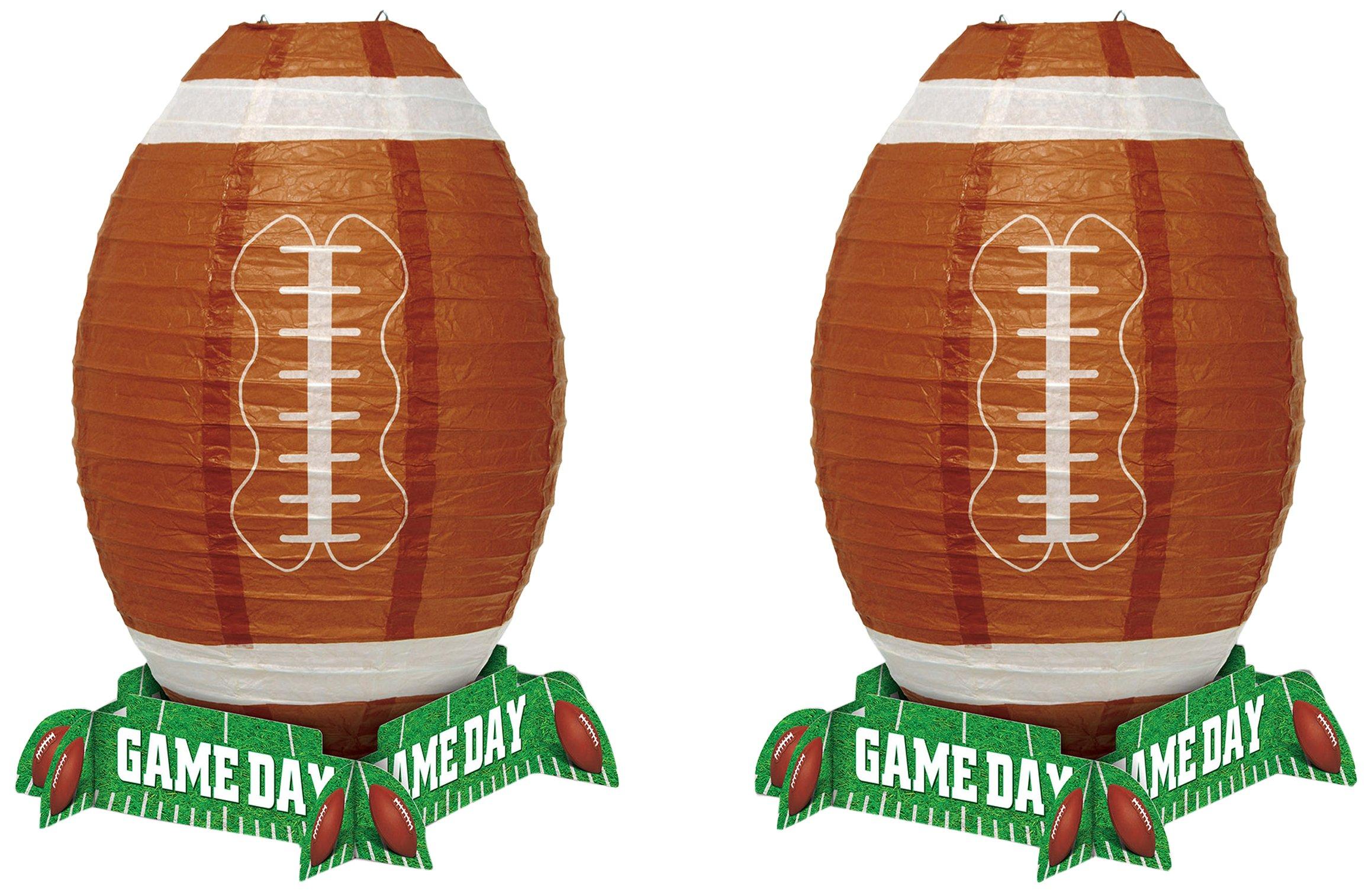 Beistle 59973, 2 Piece Game Day Football Lantern Centerpiece, 11'' (Green/White/Brown)