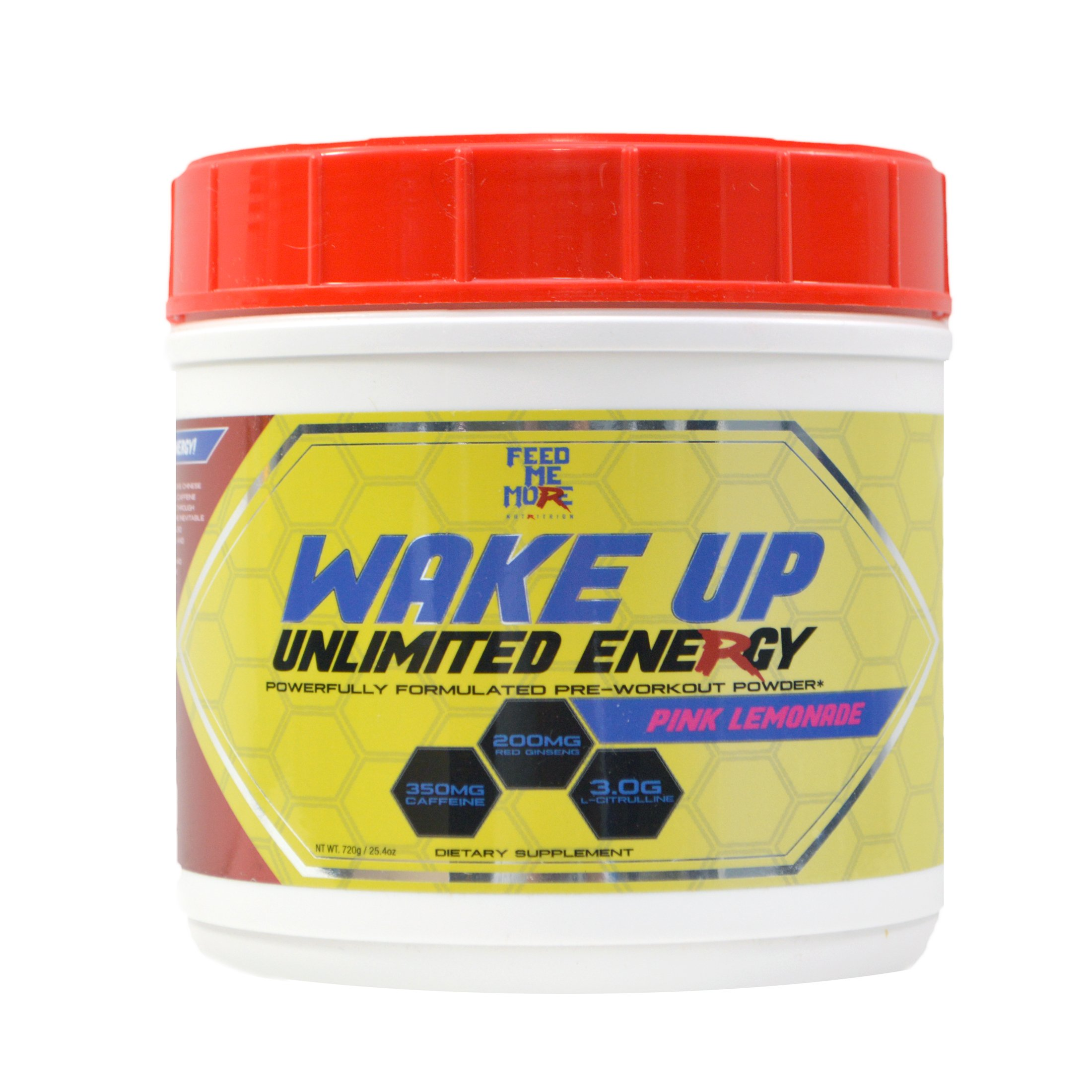 Wake up Pre Workout Powder Supplement Drink - #1 Unlimited Energy Powder Mix for Gym, Men or Women, Weight Lifting or Cardio, Non GMO, All Natural Gluten Free, Sweetened with Stevia (Pink Lemonade)
