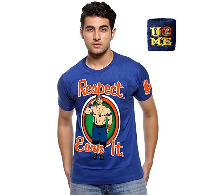 c0d67117 Wwe John Cena Respect Earn It Half Sleeve Round Neck T Shirt With Band (X