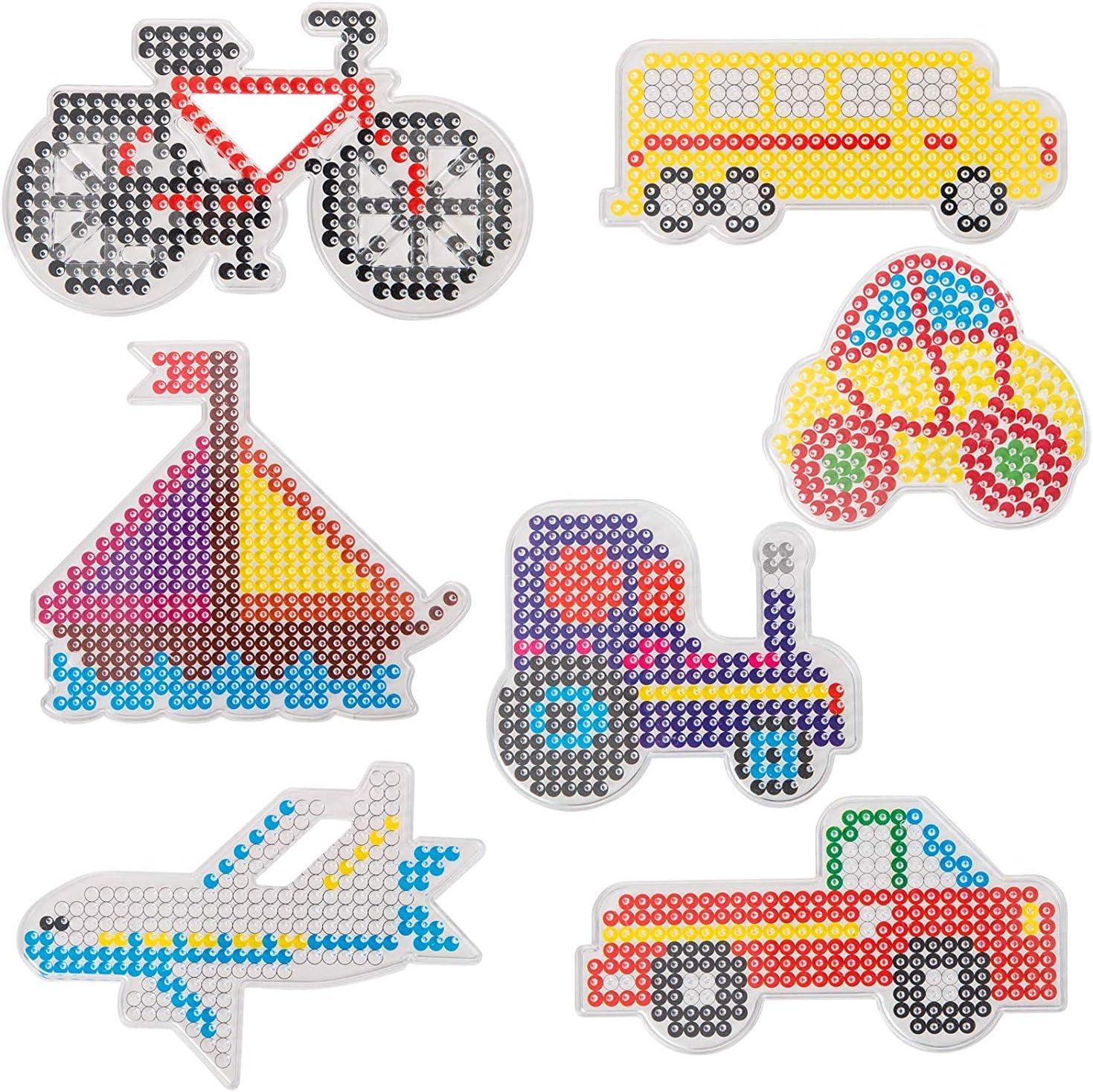 MEHRWEG QIXINHANG LIHAO 7X B/ügelperlen Stiftplatten Transparent Verkehrsmittel Steckplatten mit bunten Pappvorlagen
