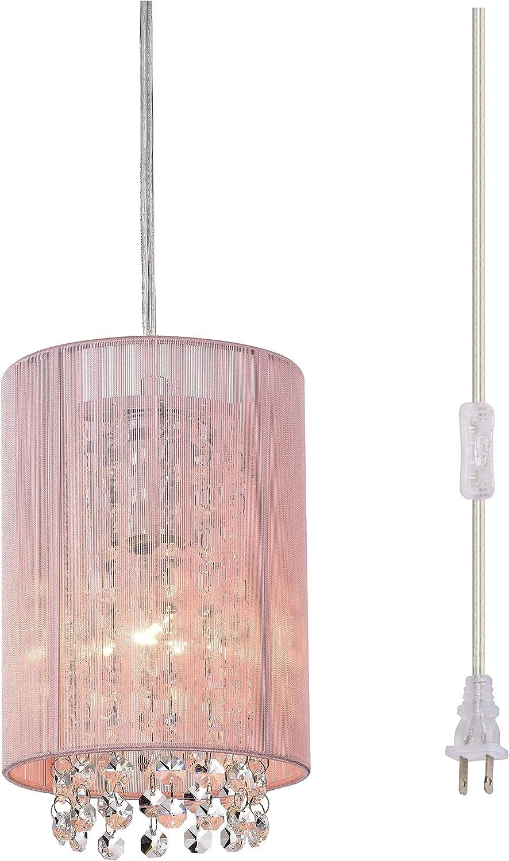 Plug In Chandelier Small Plug In Pendant Light 1 Light Plug In Hanging Light Crystal Pink Chandeliers For Girls Bedroom Amazon Com