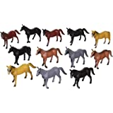 Rhode Island Novelty 4-inch Plastic Horse Figures 12-Pack (different colored breeds)