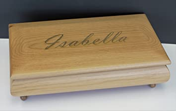 wooden jewelry box name or monogram engraved - Wood Jewelry Box
