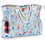 Robyn&Co Large Beach Bag, Waterproof Canvas Beach Bag, Five Pockets, Soft Rope Handles.