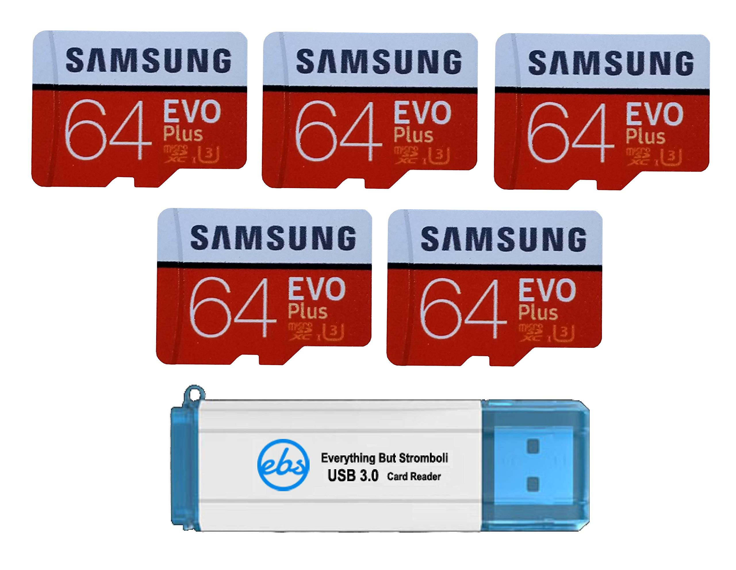 Samsung 64GB Evo Plus MicroSD Card (5 Pack Bundle) Class 10 SDXC Memory Card with Adapter (MB-MC64G) with (1) Everything But Stromboli (TM) 3.0 Reader with SD & Micro (TF) Slots by Samsung