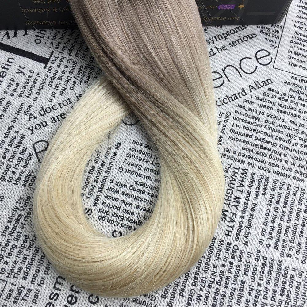 Moresoo Dip Dyed Extensiones Adhesivas Remy Cabello 16Pulgadas Ceniza Marron a Blanqueador Rubia Pelo Recto de Seda Tape Adhesivas Extensions 20pcs/50g: ...