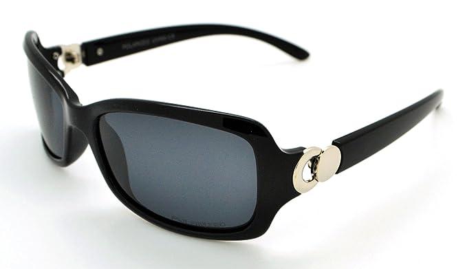 VOX Polarisierte trendige Classic High Qualität Damen Hot Fashion Sonnenbrille w/gratis Mikrofaser Tasche, VOX-63050P-FBLKSLV-LSMK