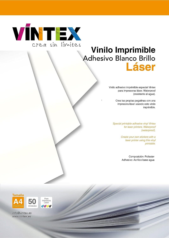 Vinilo Adhesivo Imprimible Blanco Brillo Láser (20): Amazon.es ...