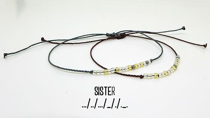77f063bb12e55 Amazon.com: Sister Morse Code Bracelet - Sister Bracelet - Morse ...