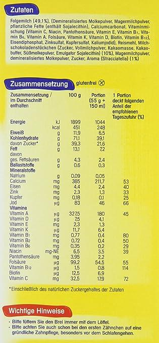 milupa Leche brei Stracciatella a partir de 8 Mes, 4 unidades (4 x 500 g Paquete): Amazon.es: Alimentación y bebidas