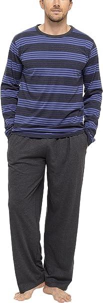 Tom Franks - Pijama de invierno para hombre (algodón), diseño de rayas