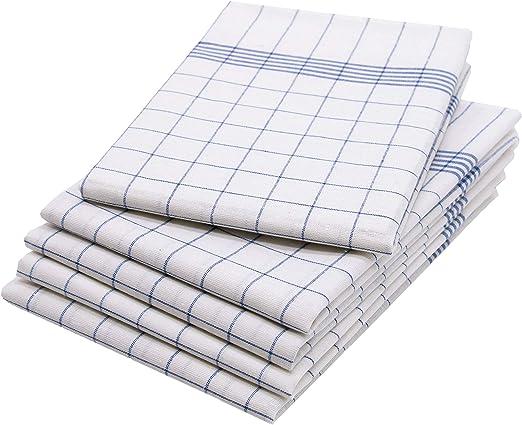 ZOLLNER 5 Trapos de Cocina algodón 100%, a Cuadros Azules y ...