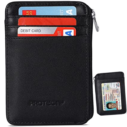 low priced ec4d2 9c2ab RFID Blocking Sleeves Front Pocket Wallet for Men, Secure Credit Card  Wallet Mini Card Holder with Zipper and Id Window, Genuine Leather Durable  Slim ...