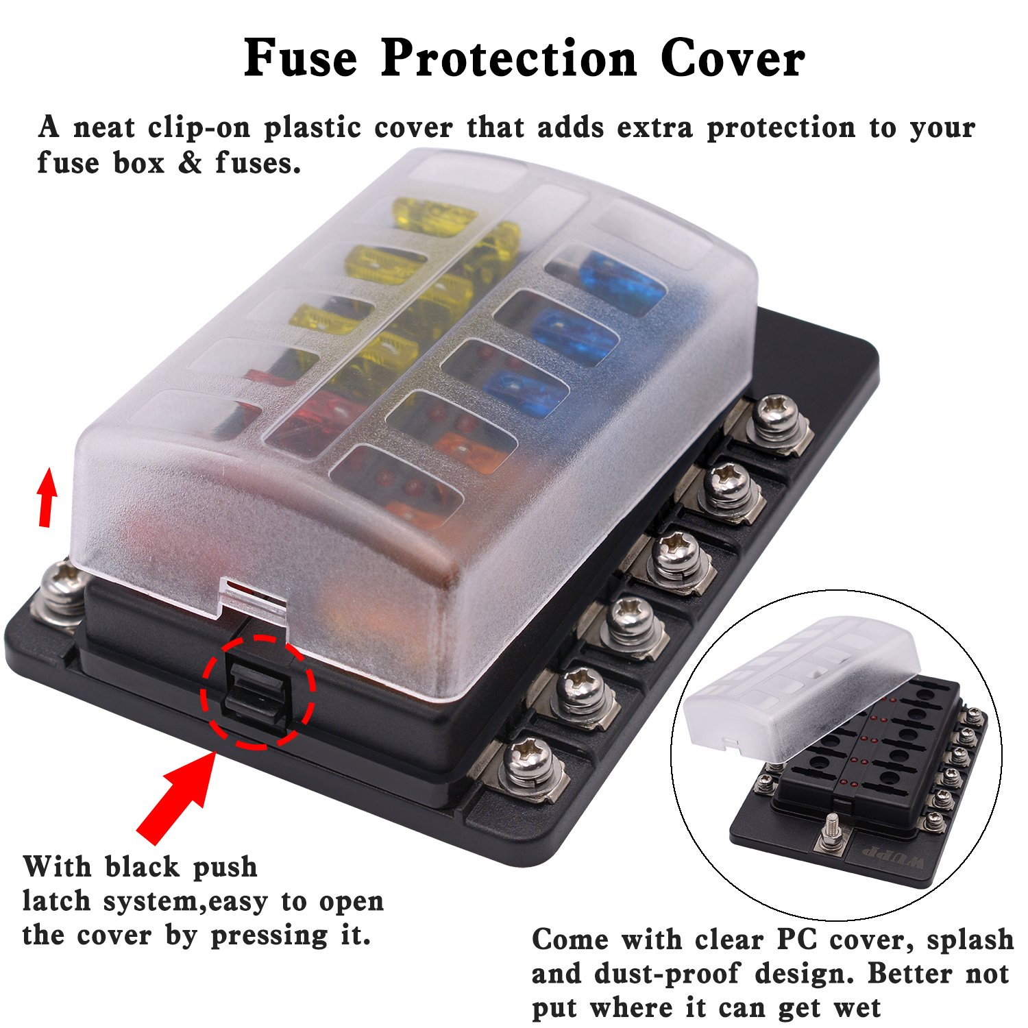Blade Fuse Box Holder With Led Warning Indicator Damp Machine Proof Cover Block For Car Boat Marine Rv Truck Dc 32v Screw Terminal12 Way