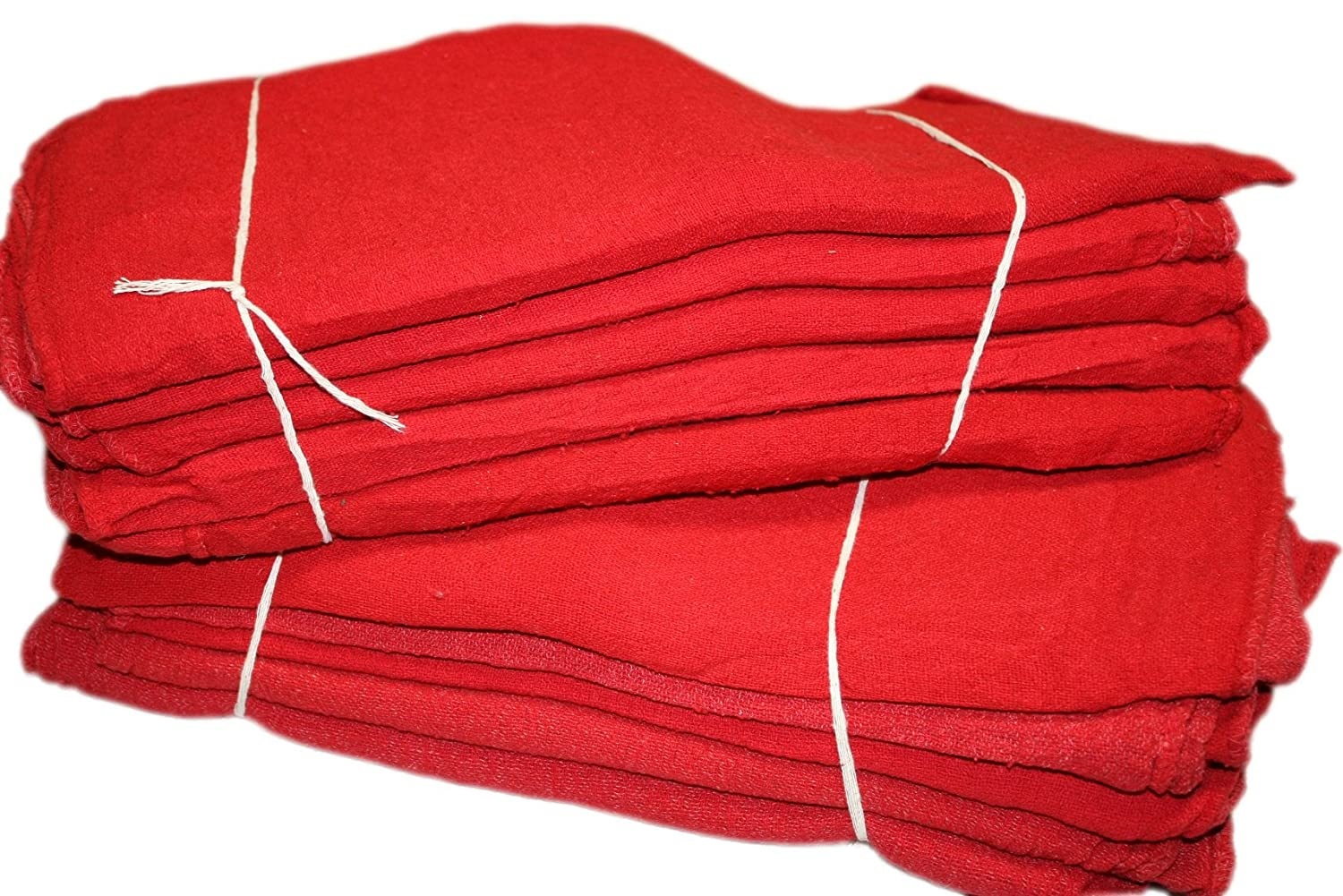 ATLAS 200 Pieces Red Rags, 100% Cotton Shop Towel, Industrial Strength, Towels Cleaning, Wiping Floors Machinery