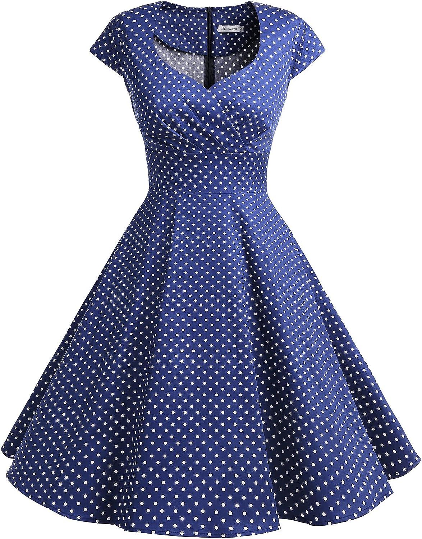TALLA XS. Bbonlinedress Vestido Corto Mujer Retro Años 50 Vintage Escote En Pico Navy Small White Dot XS