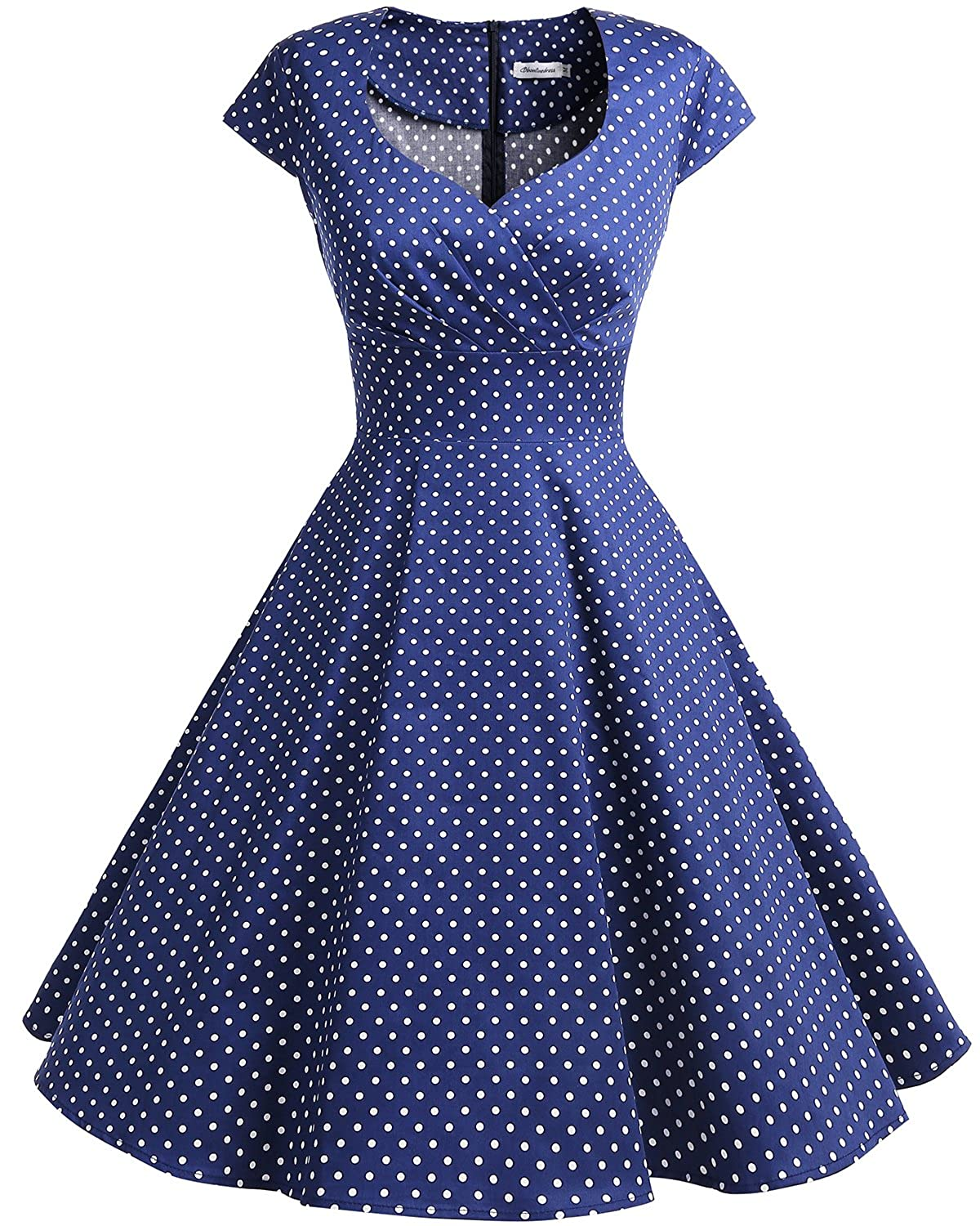 TALLA 3XL. Bbonlinedress Vestido Corto Mujer Retro A?os 50 Vintage Escote En Pico Navy Small White Dot 3XL