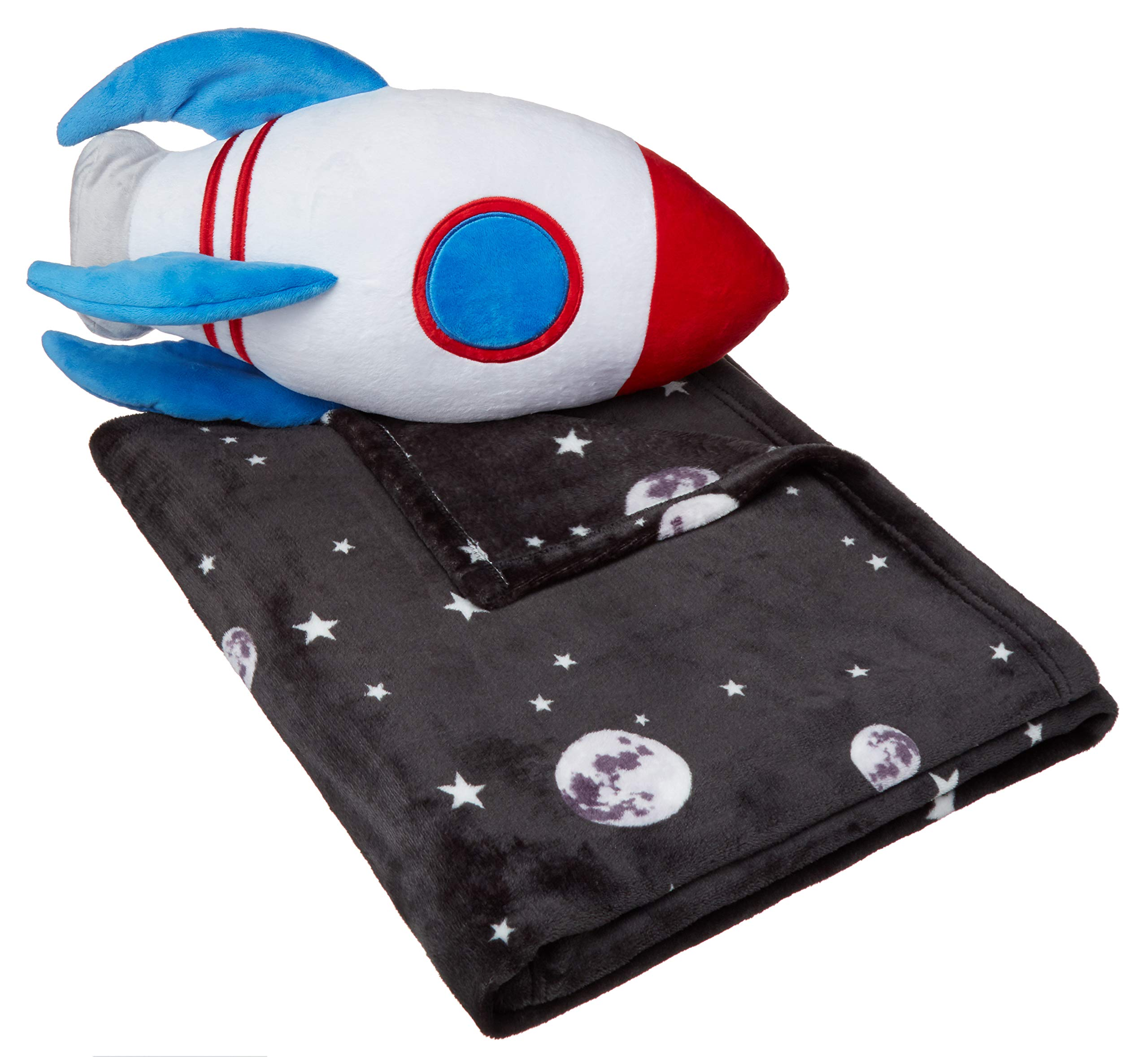 Amazon Basics Kids Space Rocket Bedding Nap Set with Rocket Pillow and Fleece Throw Blanket