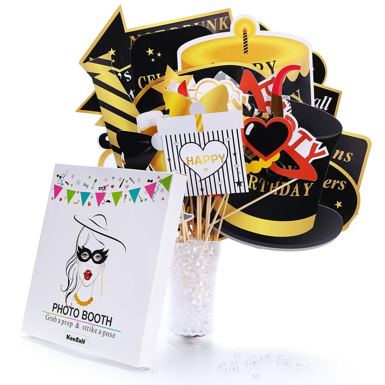 Amazon.com: Happy Birthday Party Photo Booth Props con palo ...