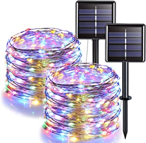 JMEXSUSS 100 LED Solar String Lights Outdoor Waterproof, 2 Pack Solar Fairy Lights, 8 Modes Solar Christmas Lights, 32.8ft Multicolor Copper Wire Lights for Patio, Wedding, Party Decoration