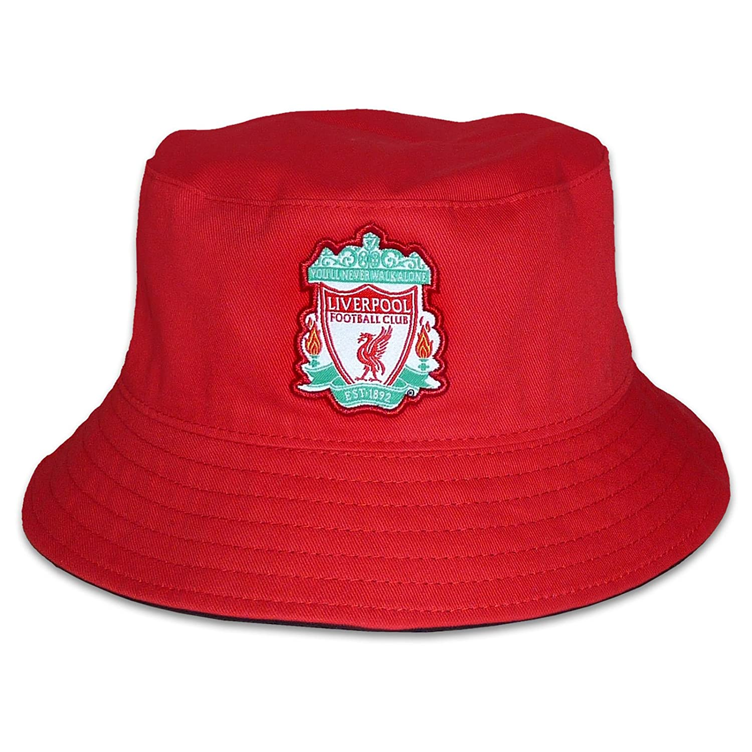 Liverpool FC Official Football Gift Reversible Bucket Hat Red Black  (RRP£14.99!)  Amazon.co.uk  Clothing d0c44e7d3f7