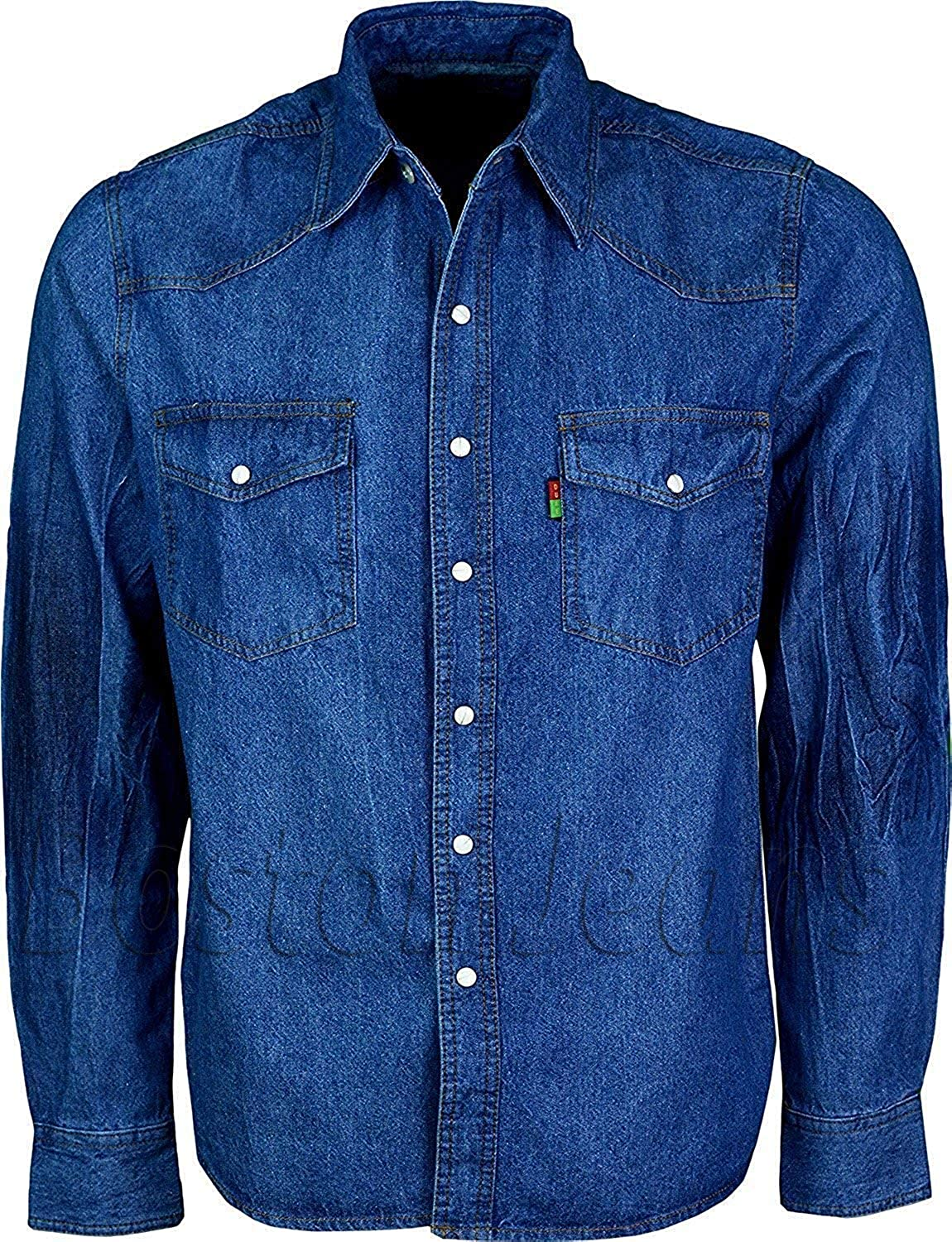 Duke London Hombre Vaquero Prelavado Manga Larga Camionero Camisa Denim