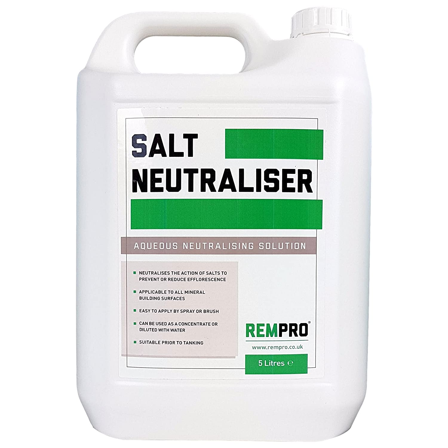 5ltr Rempro Salt Neutraliser Anti-sulphate Tanking & Surface Treatment for Masonry, Stone, Brick, Plaster Seahaven Ltd REMSN5-FBA