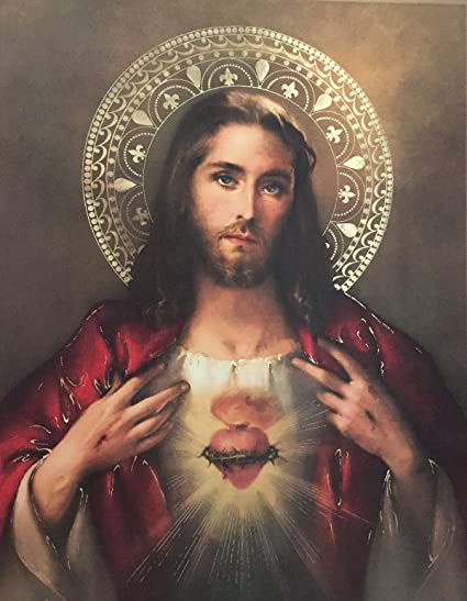 amazon com sacred heart of jesus poster 13 x 17 made in italy