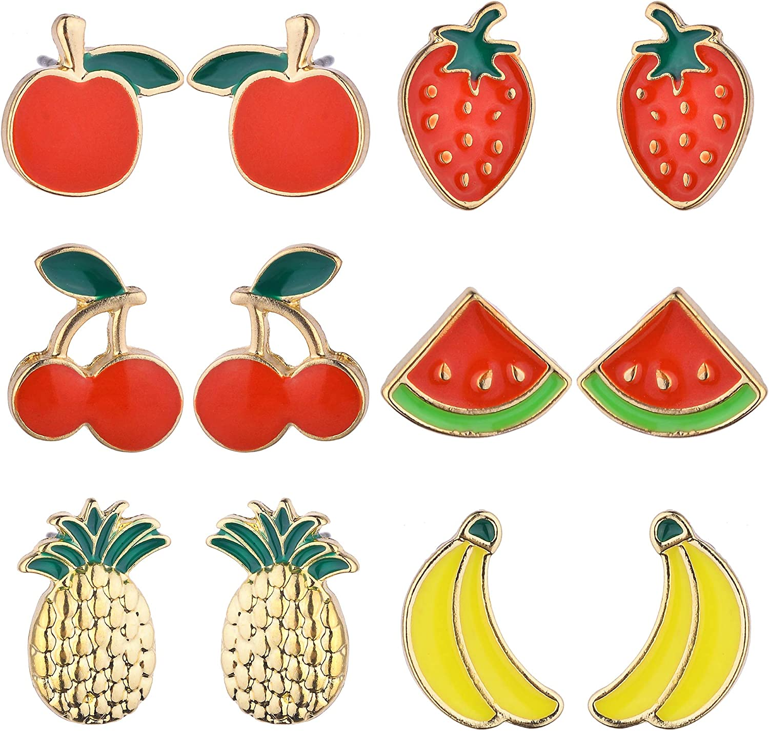 Lux Accessories Set of 6 Pairs Banana Watermelon Cherry Pineapple Strawberry Stud Earrings
