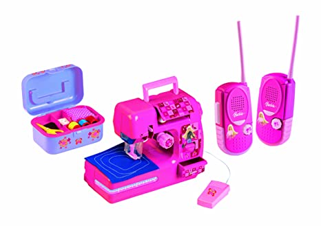 Barbie - Máquina de coser y 1 par de walkie-talkies, color rosa (