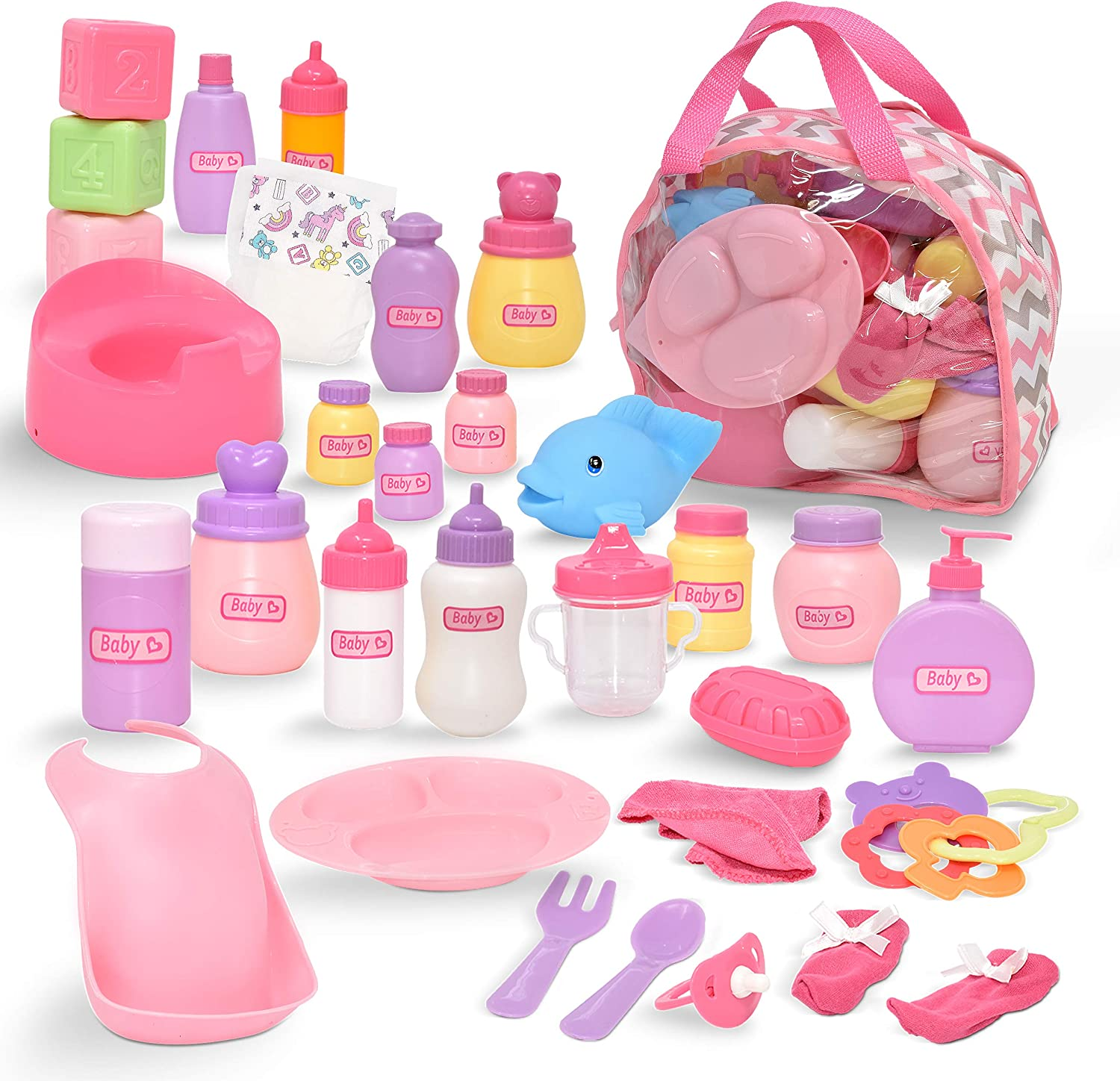 Gift Boutique Baby Doll Diaper Bag with Accessories, Doll Care Kit Doll Feeding Set with Changing Accessories Includes Doll Bottles