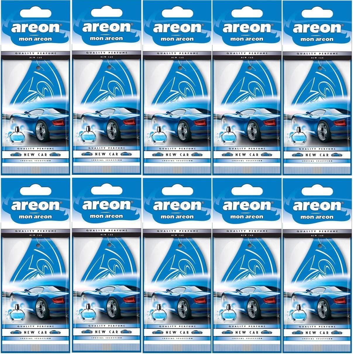 Areon Mon Auto Duft New Car Neues Auto Neuwagen Lufterfrischer Autoduft Blau Hängend Aufhängen Anhänger Spiegel Pappe 2d Wohnung Set Pack X 10 Auto