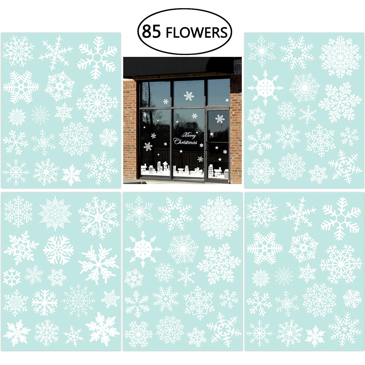 85 Snowflake Window Clings Christmas Window Decorations 34 Different Snowflakes by NICEXMAS - Glueless PVC Stickers