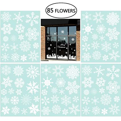 263cbacaf0c1 Amazon.com: 85 Snowflake Window Clings Christmas Window Decorations 34  Different Snowflakes by NICEXMAS - Glueless PVC Stickers: Home & Kitchen