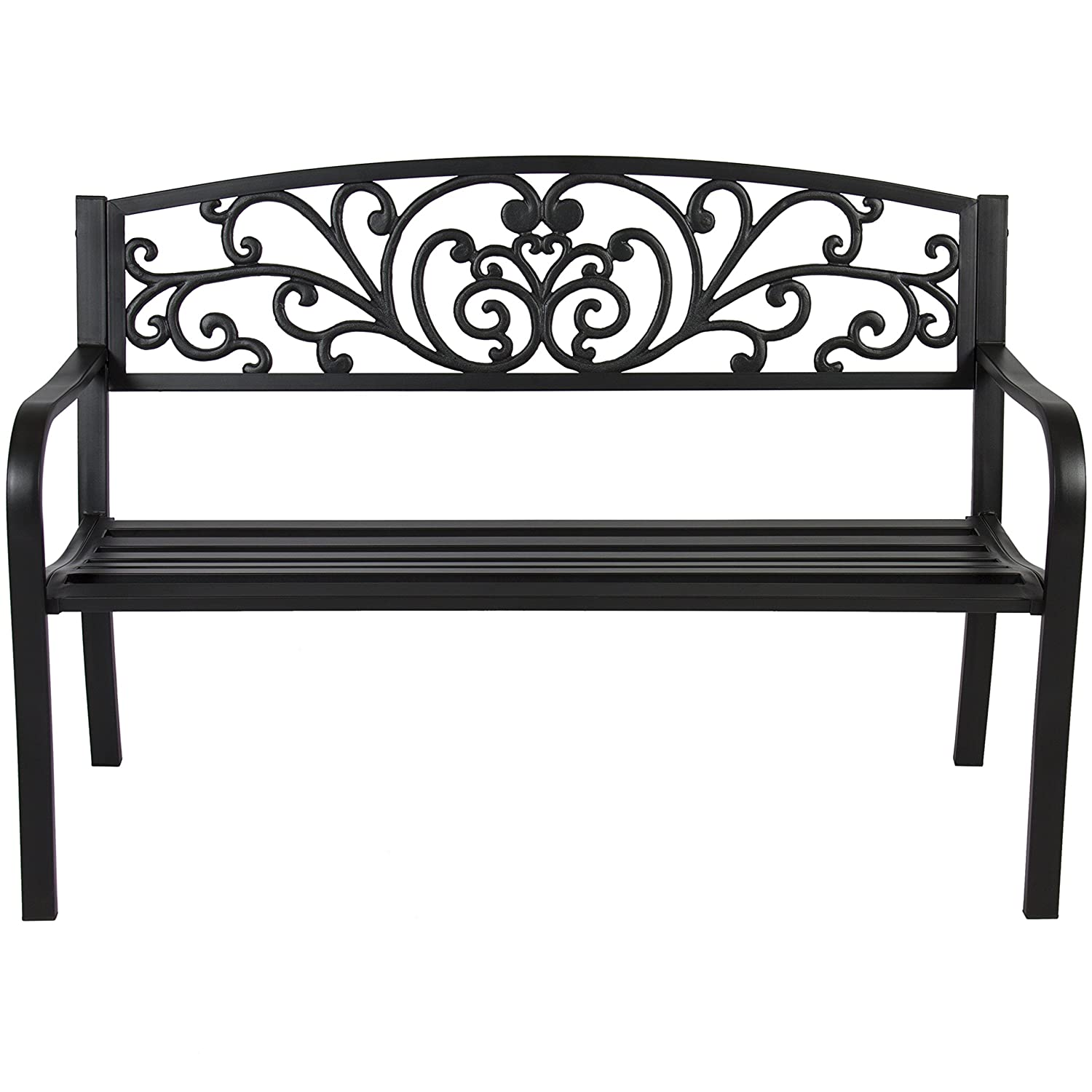 Best Choice Products 50in Steel Outdoor Park Bench Porch Chair Yard Furniture w Floral Scroll Design, Slatted Seat for Backyard, Garden, Patio, Porch – Black