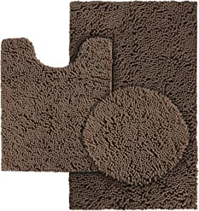 HOMEIDEAS 3 Pieces Bathroom Rugs Set Brown, Includes U-Shaped Contour Toilet Mat, Bath Mat and Shaggy Toilet Lid Cover, Machine Washable & Non Slip Bath Rugs for Bathroom, Tub, Shower