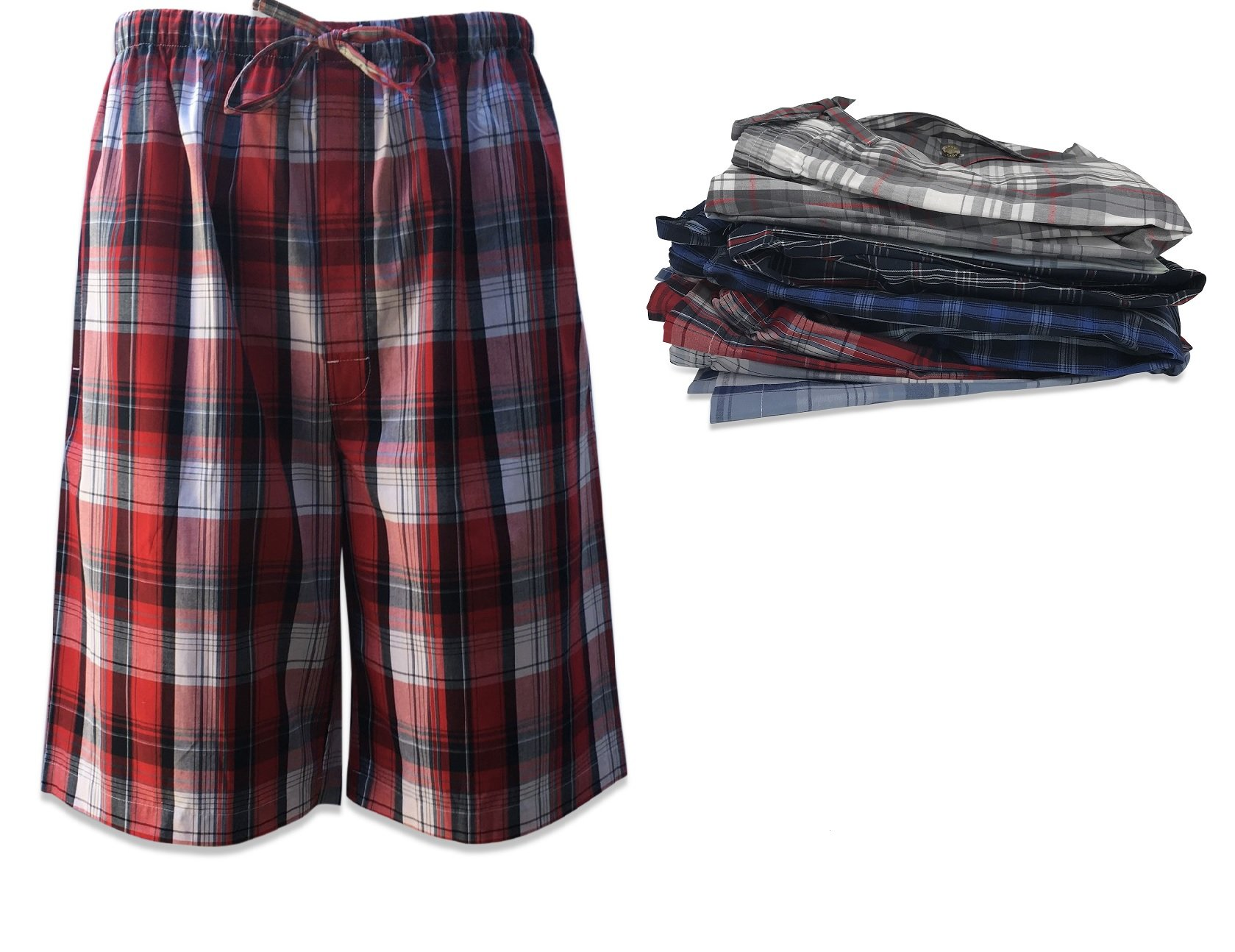 Men's 3 Pack Super Soft Woven Pajama & Sleep Jam Cargo Short Lounge Pants (X-Large, 3 Pack - Assorted Brilliant Plaids)