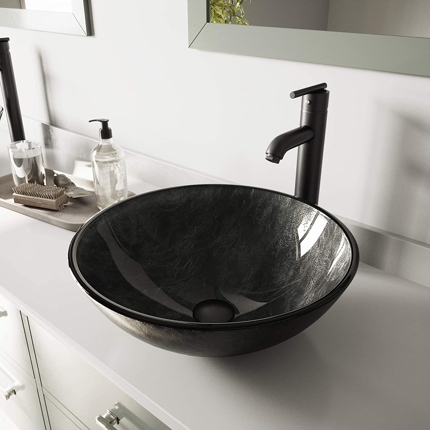 VIGO Gray Onyx Glass Vessel Bathroom Sink and Seville Vessel Faucet with Pop Up, Matte Black