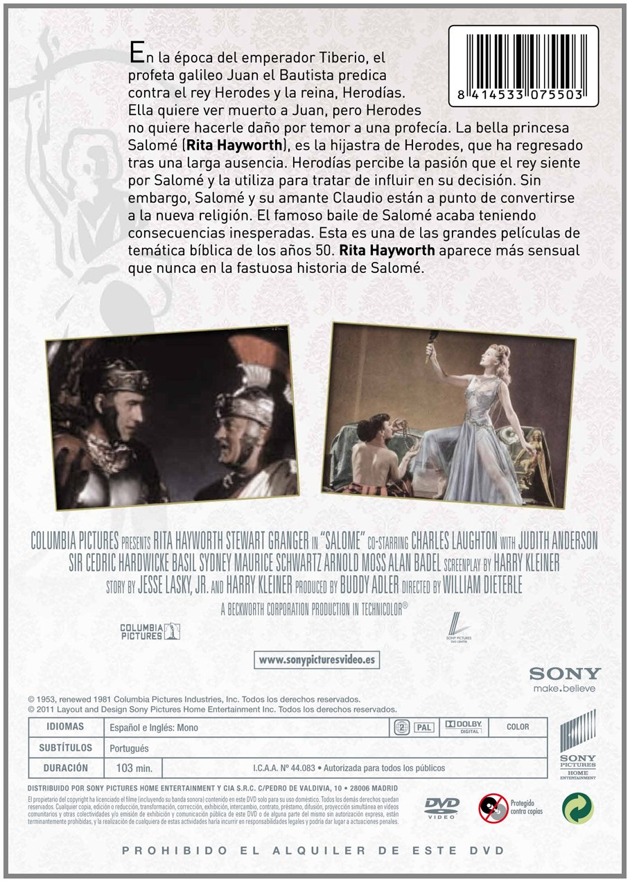 Amazon.com: Salome (1953) (Salome: The Dance of the Seven Veils)  [ NON-USA FORMAT, PAL, Reg.2 Import - Spain ]: Stewart Granger, Alan Badel, Basil Sydney, ...